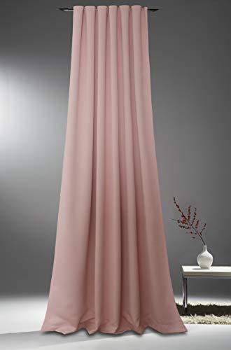 novum fix Gardine, Vorhang für Verdunkelung & Thermoeffekt * Kräuselband * blickdicht* Lärm dämmend * 140 x 245 cm* ROSÈ