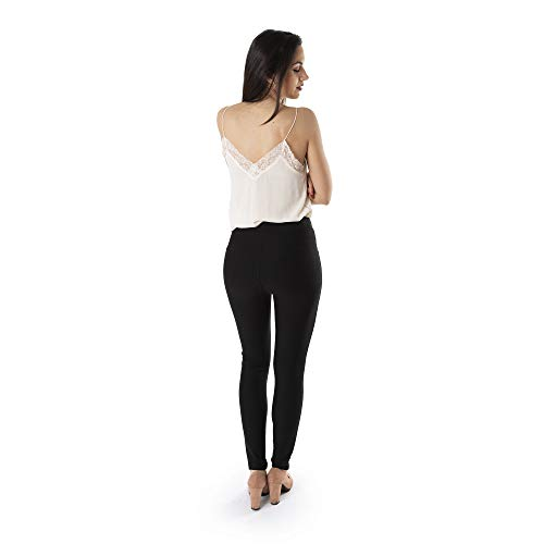 Trendcool. Leggins Mujer Vestir Negro. Pantalones Mujer Elegantes. Leggins Mujer Negros. Cómodos Leggins para Mujer Largos. (Negro, S/M)