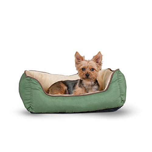 "K&H Pet Products Self-Warming Lounge Sleeper Pet Bed Small Sage/Tan 16"" x 20"""