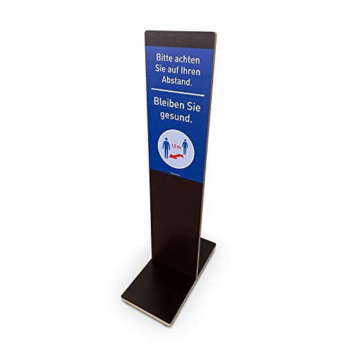 Aufsteller mit Gebotsschild | Hinweisschild Mehr Abstand mehr Sicherheit | Für Innen- und Außenbereiche | Birke-Multiplex (102,0 x 23,5 x 49,0 cm)