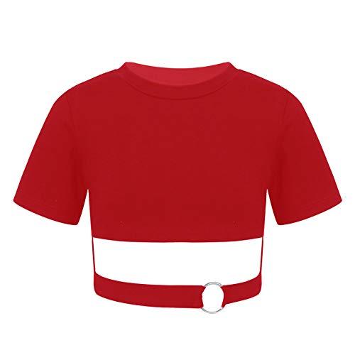 YOOJIA Top Corto de Color Liso para Niñas Camiseta Corta Deportiva con Manga Coeta con Anillo de Metal en la Cintura Top a la Moda para Princesa Borgoño 5-6 años