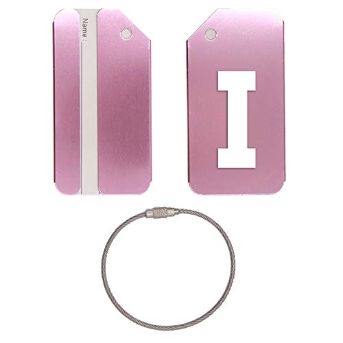 Letter I Silhouette Stainless Steel - Engraved Luggage Tag - Set Of 2 (Rose Gold) - For Any Type Of Luggage, Suitcases, Gym Bags, Briefcases, Golf Bags