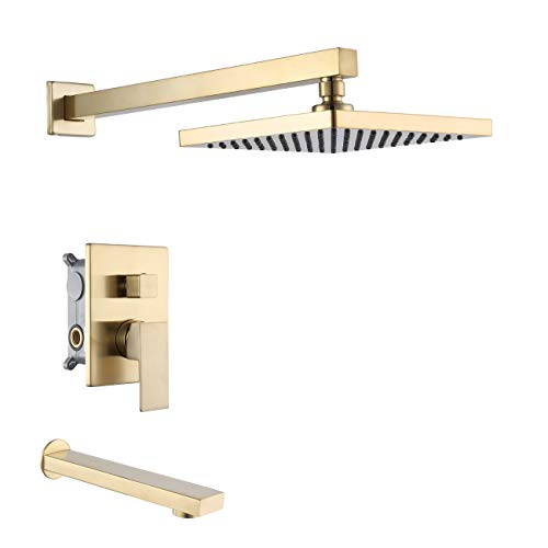 KES Shower System with Waterfall Tub Spout Pressure Balance Shower Faucet Set Square with 8 Inch Rain Shower Head Brushed Brass, XB6233-BZ-KES