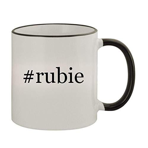 #rubie - 11oz Ceramic Colored Rim & Handle Coffee Mug, Black