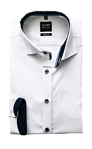 OLYMP Herren Hemd Level 5 Body Fit Langarm   Royal Kent Kragen   Uni weiß Gr. 39