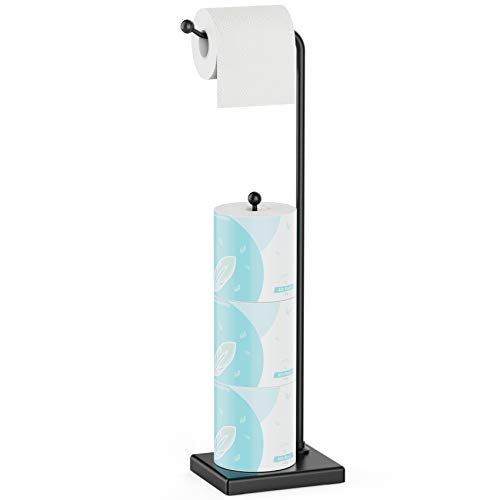 Toilet Paper Holder Stand - GSlife Bathroom Free Standing Tissue Roll Holder with Reserve Storage for 4 Rolls Heavy Weighted Base Matte Black