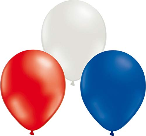 Pack of 24 Latex Balloons Blue, Red and White - 30cm (12