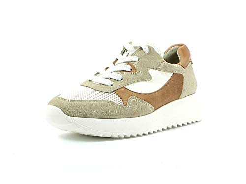 Paul Green Damen Sneaker 4949, Frauen Low-Top Sneaker, schnürschuh Plateau-Sohle weibliche Lady Ladies feminin elegant,Biscuit/White,38.5 EU / 5.5 UK