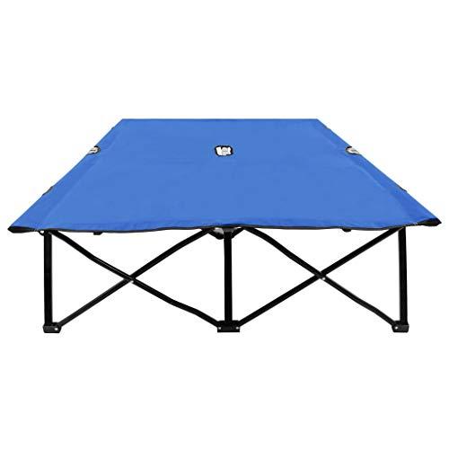 Lasamot Práctica Tumbona Doble para Exteriores, Tumbona Doble de Tejido de poliéster Azul 193 x 125 x 40 cm (Largo x Ancho x Alto) -con Revestimiento de PE