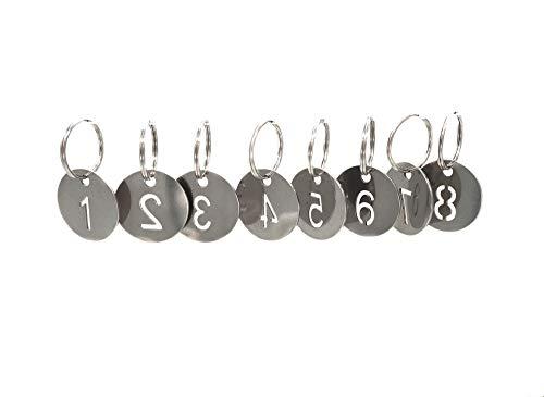 Llaveros de acero inoxidable 304 con anillo de 50 piezas, 25 mm hueco, llavero numerado de 21 a 40