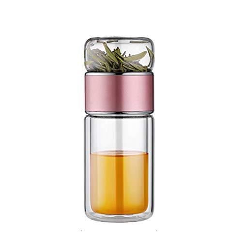 Infusor de té de cristal, taza de viaje de 7 onzas con colador, botella de té de doble pared para té de hojas sueltas, frutas y café frío (color rosa, tamaño: 230 ml)