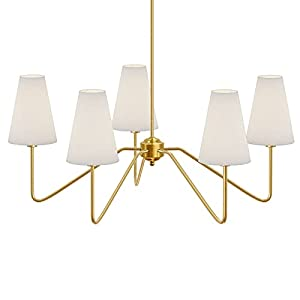 """Electro bp;30""""Dia 5-Arm Classic Chandeleirs Polished Gold with White Linen Shades,200W"""