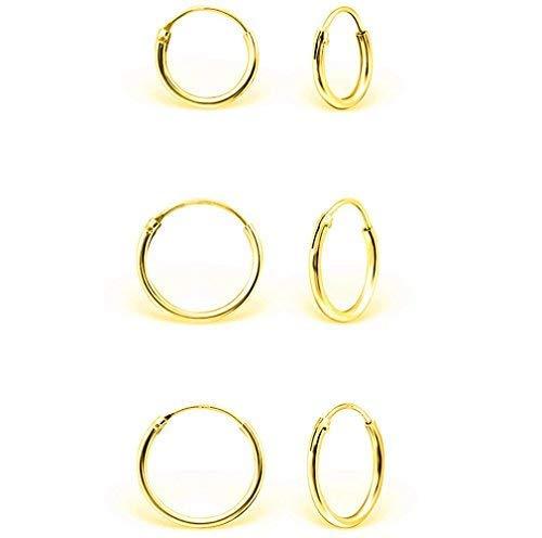 DTPsilver - Damen - Klein Creolen - 3 Paare Ohrringe 925 Sterling Silber Gelb Vergoldet - Dicke 1.5 mm - Durchmesser 8, 10, 12 mm