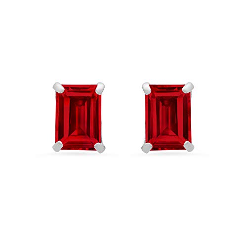 14k White Gold Solitaire Emerald-Cut Created Ruby Stud Earrings (7x5mm)
