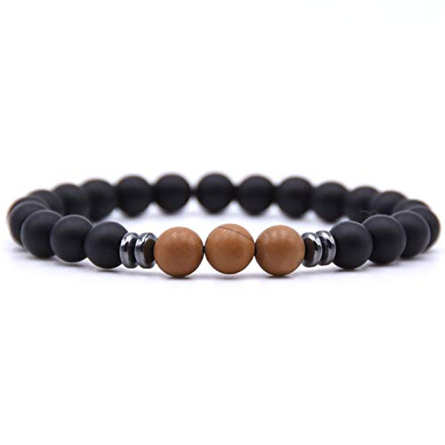 Pulsera Brazalete, Joyeria Regalo, Minimalist 8Mm Natural Stone Beads Strand Bracelet Charm Handmade DIY Braclet For Men Wristband Jewelry Accessories Homme Wood Stone Beads