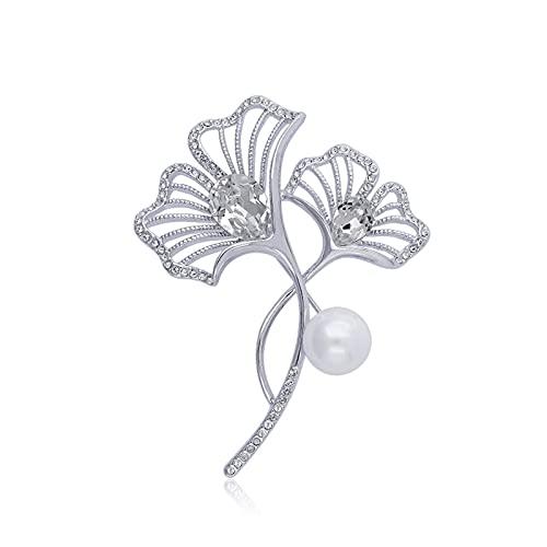 Broche para Damas Fashion Pearl Broches Elegante broche de cristal accesorios de cuello blanco multifuncionales Pin de solapa para la chaqueta Vestido de bufanda o chales Decoración Brooch
