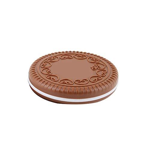 Beito 1 STÜCK Nette Schokolade Cookie Shaped Design Kosmetikspiegel Mit Kamm Tragbare Reise Schminkspiegel Set Tasche Handheld Taschenspiegel Entzückendes Geschenk Für Frauen Mädchen