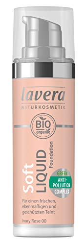 lavera Soft Liquid Foundation -Ivory Rose 00- Fond de Teint Fluide ∙ Vegan Cosmétiques naturels Make up Ingrédients végétaux bio 100% Naturel Maquillage (30 ml)