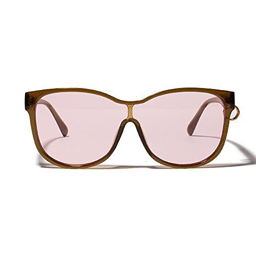 U/N Gafas de Sol de Gran tamaño de Lujo para Mujer, Gafas de Sol con Montura Grande para Hombre, Gafas Siameses Circulares de Moda-3