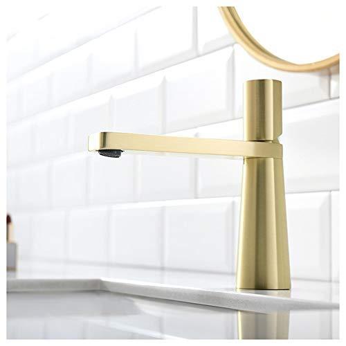 ZhenHe Zené Moderna Minimalista tocador de baño Completo Cobre cónica Grifo de Agua Caliente y fría Acondicionado del hogar Creativo del Hotel Orificio de Grifo Hermoso práctica (Color : Gold)