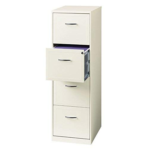"""Office Dimensions 18"""" Deep 4 Drawer Vertical File Metal File Cabinet, Letter-Sized, Pearl White"""