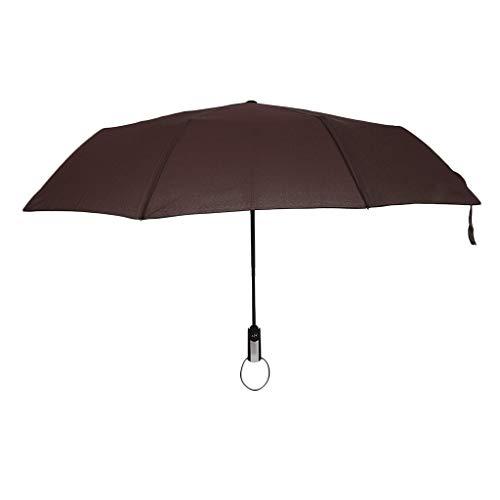 Regenschirm Sturmsicher Taschenschirm Groß Automatik Auf und Zu Schirme Winddicht Leicht Stabiler Schirm - Kaffee