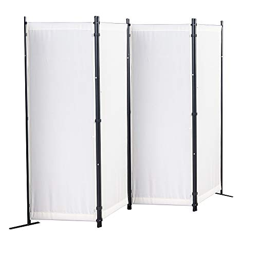 GOJOOASIS Paravent 4 Teilig Raumteiler 170 x 220 cm Trennwand Stellwand Sichtschutzwand(Beige)