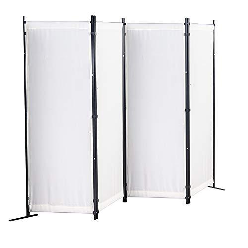 GOJOOASIS Paravent 4 Teilig Raumteiler 170 x 220 cm Trennwand (Weiß)