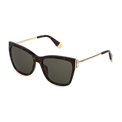 FURLA Gafas de sol SFU462 09TB 55-17-135 para mujer tortuga negra lentes marrones