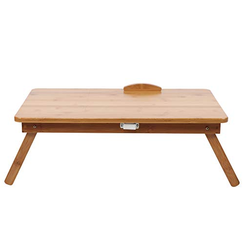 Mesa para portátil de altura ajustable, resistente y más cómoda, escritorio de estudio de bambú de mesa ajustable, para usar como estudio de escritorio para portátil