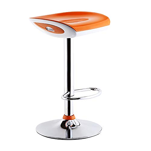 SHPEHP Adjustable Seat and Backrest Bar StoolsABS Resin Office Drafting Chairs Swivel BarStools Reception for Work Office Counter Stool Barstools Dining Chair-Orange
