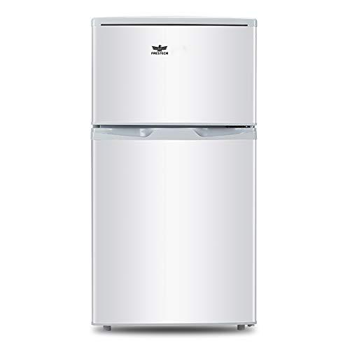 Refrigerator dubbele deurs mini-vriezer, compacte koelkast met verstelbare voet en verlichting voor slaapzakken, boeroze, feesten, wit