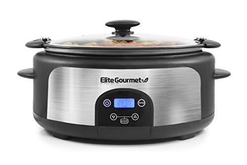 Elite Gourmet Glas Slow Cooker with Adjustable Temp, Entrees, Sauces, Stews & Dips, Dishwasher Safe Glass Lid & Crock, 6 Quart, Stainless Steel
