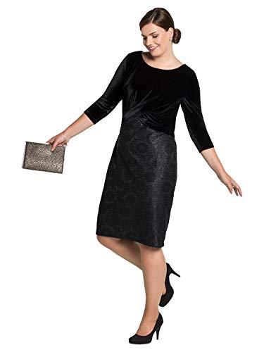 Sheego Damen Cocktailkleid mit eleganter Spitze schwarz, 50