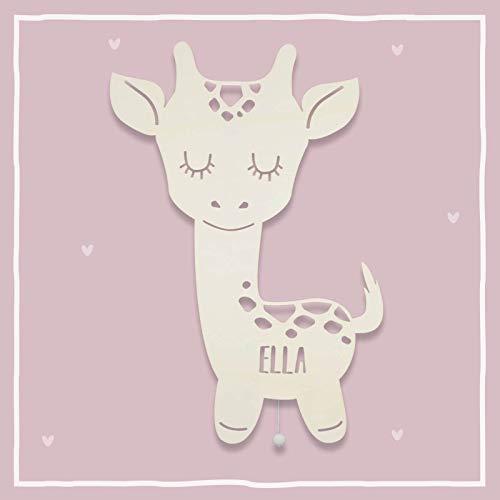 Nachtlicht, Wandleuchte, Holz, Tauf-Geschenk mit Wunsch-Name für Mädchen oder Jungen, Giraffe, Schlummerlicht, Babyzimmer, Kinderzimmer, Schlummerlicht, Baby-lampe [Energieklasse A++]