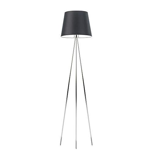 Lámpara de pie RENO pantalla Negro Marco Cromo