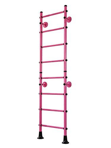 NiroSport FitTop M4 Sprossenwand Indoor Klettergerüst für Kinder und Erwachsene Turnwand Kletterwand, 210 cm, TÜV geprüft, einfache Montage, max. Belastung bis ca. 130 kg, Made in Germany (Pink)