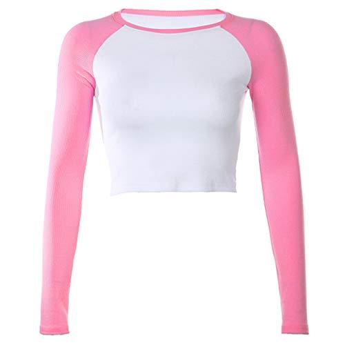 Raglan manga larga bloque de color camiseta O-cuello acanalado Slim Basic Crop Top con
