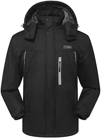 ZSHOW Men s Snowboarding Jacket Ultra Soft Fleece Lined Ski Jacket with Removable Hood Black product image