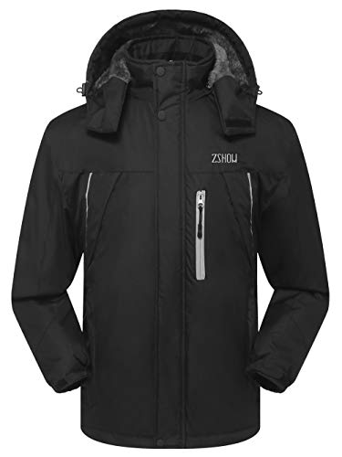 ZSHOW Men's Waterproof Windproof Fleece Ski Jacket Outdoor Insulated Snow Jacket(Black,X-Large)