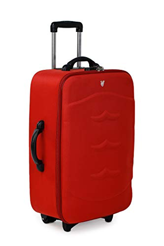 Verage Milan 59 cm Red HD Polyester Cabin Carry On Trolley 2 Wheels Soft Sided Suitcase Luggage