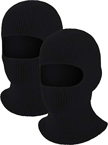 2 Pieces 1-Hole Ski Mask Knitted Face Cover Winter Balaclava Full Face Mask for Winter Outdoor Sports (Black)