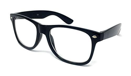 Vintage Retro Style Oversized Black Frame Nerd Geek Clear Lens Glasses Classic