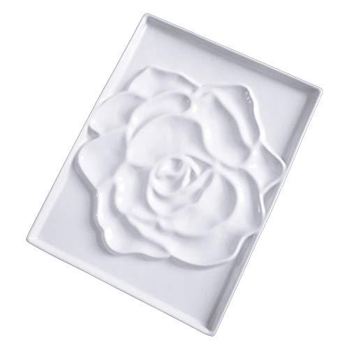 WUAHEIE Ceramic Artist Watercolor Palette Rose Shaped Gouache Ceramic Palette Bone China Flower Paint Painting Supplies Limited Edition (Color : Rectangular Rose)