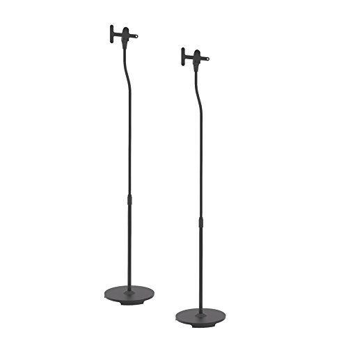 Universal Floor Standing Speaker Mount - Pair of Heavy Duty Steel Metal Home Studio Stage Adjustable Speaker Stand For Sonos PLAY 1 PLAY 3 Wireless, Other Home Theater Sound Speakers - Pyle PSTNDSON16
