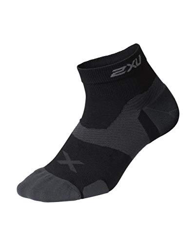 2XU Unisex's Vectr Cushion 1/4 Crew Socks, Black/Titanium, Large