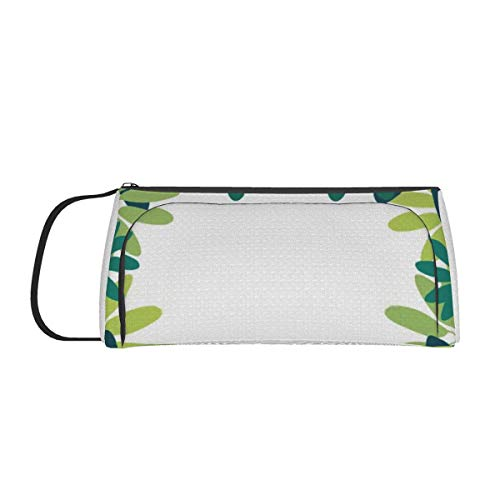 Large Capacity Pen Bag Desk Organizer Stationery Case with Zipper Compartments Design Botanical Garland Makeup Cosmetic Bag for Girls Boys Teenagers Students Adults