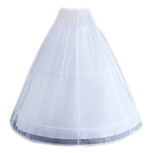 DealMux, enagua de boda blanca para mujer, 2 aros, doble capa, crinolina...