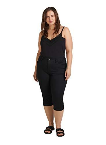 Zizzi Damen Capri Jeans 3/4 Caprihose Slim Fit Mit Stretch , Farbe: Schwarz, Gr. 44