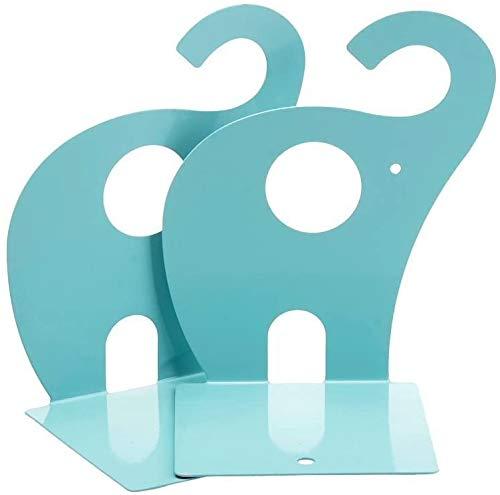 Kinder Buchstützen Elefant Kreative kinder Eisen Bücher Briefpapier Einfache Tische Kinder Tier bookend 1 pair 19x12 cm (Hellblau)